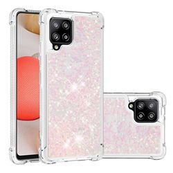Dynamic Liquid Glitter Sand Quicksand TPU Case for Samsung Galaxy A42 5G - Silver Powder Star