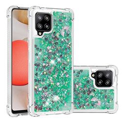 Dynamic Liquid Glitter Sand Quicksand TPU Case for Samsung Galaxy A42 5G - Green Love Heart