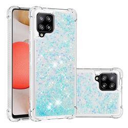 Dynamic Liquid Glitter Sand Quicksand TPU Case for Samsung Galaxy A42 5G - Silver Blue Star