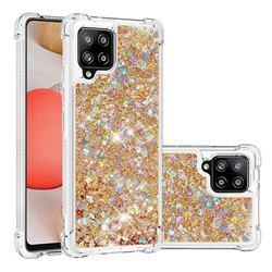 Dynamic Liquid Glitter Sand Quicksand TPU Case for Samsung Galaxy A42 5G - Rose Gold Love Heart