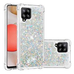 Dynamic Liquid Glitter Sand Quicksand Star TPU Case for Samsung Galaxy A42 5G - Silver