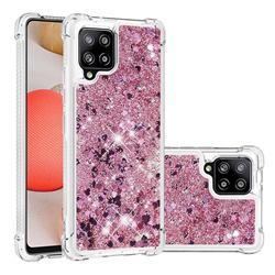 Dynamic Liquid Glitter Sand Quicksand Star TPU Case for Samsung Galaxy A42 5G - Diamond Rose