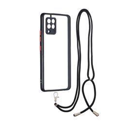 Necklace Cross-body Lanyard Strap Cord Phone Case Cover for Samsung Galaxy A42 5G - Black