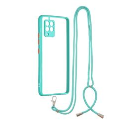 Necklace Cross-body Lanyard Strap Cord Phone Case Cover for Samsung Galaxy A42 5G - Blue