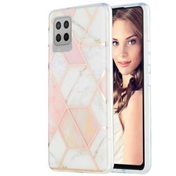 Pink White Marble Pattern Galvanized Electroplating Protective Case Cover for Samsung Galaxy A42 5G