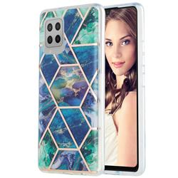 Blue Green Marble Pattern Galvanized Electroplating Protective Case Cover for Samsung Galaxy A42 5G