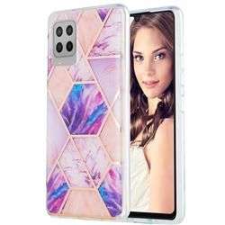 Purple Dream Marble Pattern Galvanized Electroplating Protective Case Cover for Samsung Galaxy A42 5G