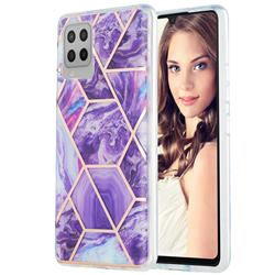 Purple Gagic Marble Pattern Galvanized Electroplating Protective Case Cover for Samsung Galaxy A42 5G
