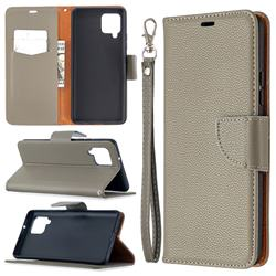 Classic Luxury Litchi Leather Phone Wallet Case for Samsung Galaxy A42 5G - Gray