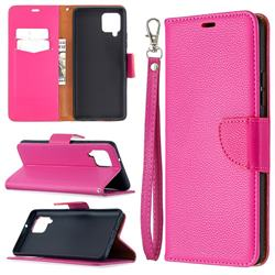 Classic Luxury Litchi Leather Phone Wallet Case for Samsung Galaxy A42 5G - Rose