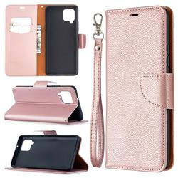 Classic Luxury Litchi Leather Phone Wallet Case for Samsung Galaxy A42 5G - Golden