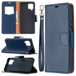 Classic Luxury Litchi Leather Phone Wallet Case for Samsung Galaxy A42 5G - Blue