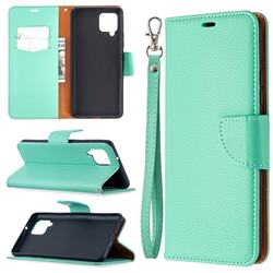 Classic Luxury Litchi Leather Phone Wallet Case for Samsung Galaxy A42 5G - Green