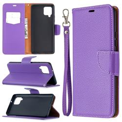 Classic Luxury Litchi Leather Phone Wallet Case for Samsung Galaxy A42 5G - Purple