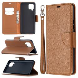 Classic Luxury Litchi Leather Phone Wallet Case for Samsung Galaxy A42 5G - Brown