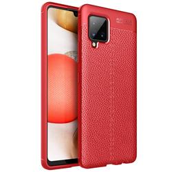 Luxury Auto Focus Litchi Texture Silicone TPU Back Cover for Samsung Galaxy A42 5G - Red