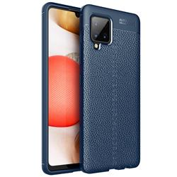 Luxury Auto Focus Litchi Texture Silicone TPU Back Cover for Samsung Galaxy A42 5G - Dark Blue