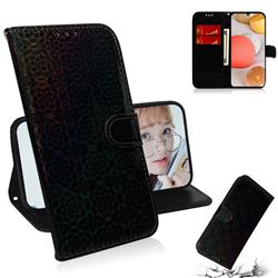 Laser Circle Shining Leather Wallet Phone Case for Samsung Galaxy A42 5G - Black