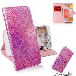 Laser Circle Shining Leather Wallet Phone Case for Samsung Galaxy A42 5G - Pink