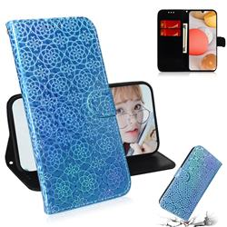 Laser Circle Shining Leather Wallet Phone Case for Samsung Galaxy A42 5G - Blue