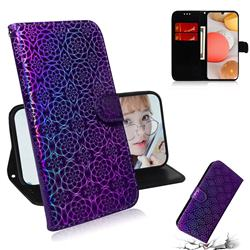 Laser Circle Shining Leather Wallet Phone Case for Samsung Galaxy A42 5G - Purple