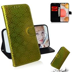 Laser Circle Shining Leather Wallet Phone Case for Samsung Galaxy A42 5G - Golden