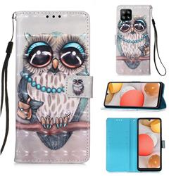 Sweet Gray Owl 3D Painted Leather Wallet Case for Samsung Galaxy A42 5G