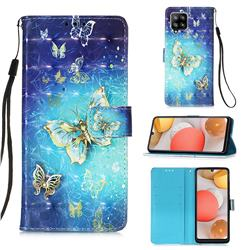 Gold Butterfly 3D Painted Leather Wallet Case for Samsung Galaxy A42 5G