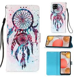 ColorDrops Wind Chimes 3D Painted Leather Wallet Case for Samsung Galaxy A42 5G