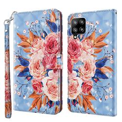 Rose Flower 3D Painted Leather Wallet Case for Samsung Galaxy A42 5G