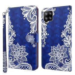 White Lace 3D Painted Leather Wallet Case for Samsung Galaxy A42 5G