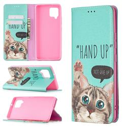 Hand Up Cat Slim Magnetic Attraction Wallet Flip Cover for Samsung Galaxy A42 5G