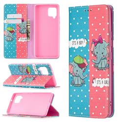 Elephant Boy and Girl Slim Magnetic Attraction Wallet Flip Cover for Samsung Galaxy A42 5G