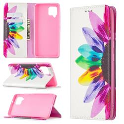 Sun Flower Slim Magnetic Attraction Wallet Flip Cover for Samsung Galaxy A42 5G
