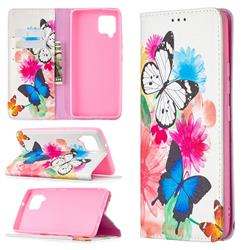 Flying Butterflies Slim Magnetic Attraction Wallet Flip Cover for Samsung Galaxy A42 5G