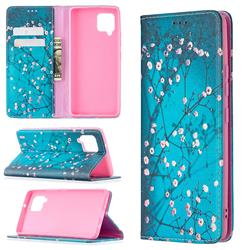 Plum Blossom Slim Magnetic Attraction Wallet Flip Cover for Samsung Galaxy A42 5G