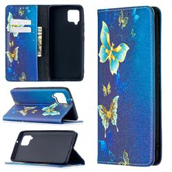 Gold Butterfly Slim Magnetic Attraction Wallet Flip Cover for Samsung Galaxy A42 5G