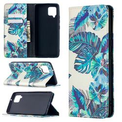 Blue Leaf Slim Magnetic Attraction Wallet Flip Cover for Samsung Galaxy A42 5G