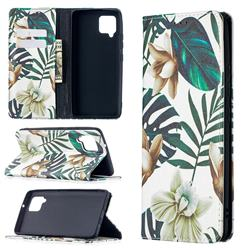 Flower Leaf Slim Magnetic Attraction Wallet Flip Cover for Samsung Galaxy A42 5G
