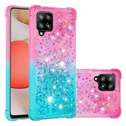 Rainbow Gradient Liquid Glitter Quicksand Sequins Phone Case for Samsung Galaxy A42 5G - Pink Blue