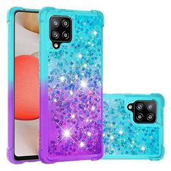 Rainbow Gradient Liquid Glitter Quicksand Sequins Phone Case for Samsung Galaxy A42 5G - Blue Purple