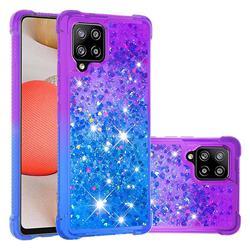 Rainbow Gradient Liquid Glitter Quicksand Sequins Phone Case for Samsung Galaxy A42 5G - Purple Blue