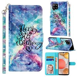 Blue Starry Sky 3D Leather Phone Holster Wallet Case for Samsung Galaxy A42 5G