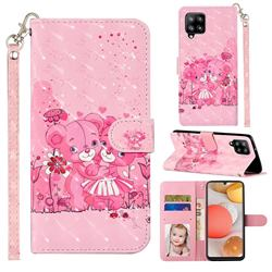 Pink Bear 3D Leather Phone Holster Wallet Case for Samsung Galaxy A42 5G