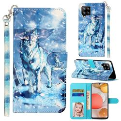 Snow Wolf 3D Leather Phone Holster Wallet Case for Samsung Galaxy A42 5G