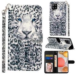 White Leopard 3D Leather Phone Holster Wallet Case for Samsung Galaxy A42 5G