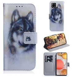 Snow Wolf PU Leather Wallet Case for Samsung Galaxy A42 5G