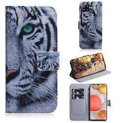 White Tiger PU Leather Wallet Case for Samsung Galaxy A42 5G