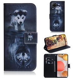 Wolf and Dog PU Leather Wallet Case for Samsung Galaxy A42 5G