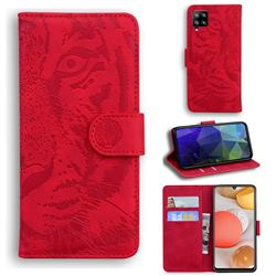 Intricate Embossing Tiger Face Leather Wallet Case for Samsung Galaxy A42 5G - Red